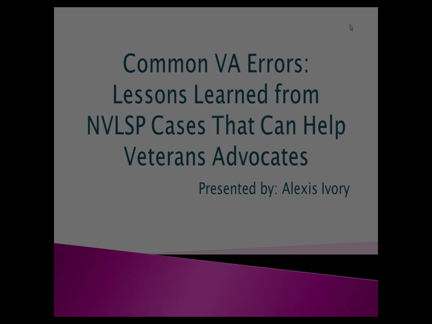 common va errors: lessons learned from nvlsp cases that can help